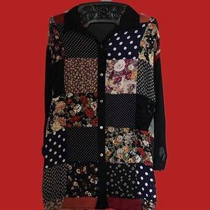 Vintage grunge Express patchwork top sz.L